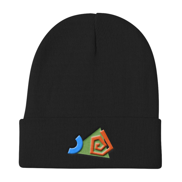 SwirledShapes Black Beanie | G.O.A.T. GRAPHICS