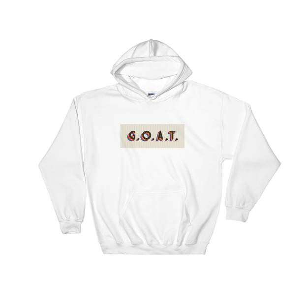 G.O.A.T. VHS White Hoodie | G.O.A.T. GRAPHICS