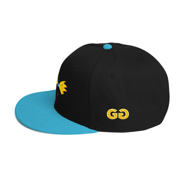 Football Head Black/Aqua Snapback | G.O.A.T. GRAPHICS