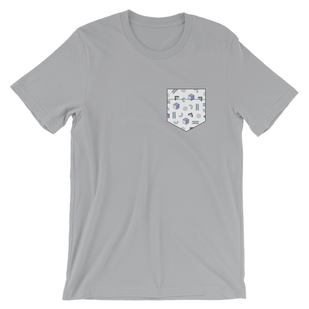 Fake Pocket: Abstract Shapes Silver Tee | G.O.A.T. GRAPHICS