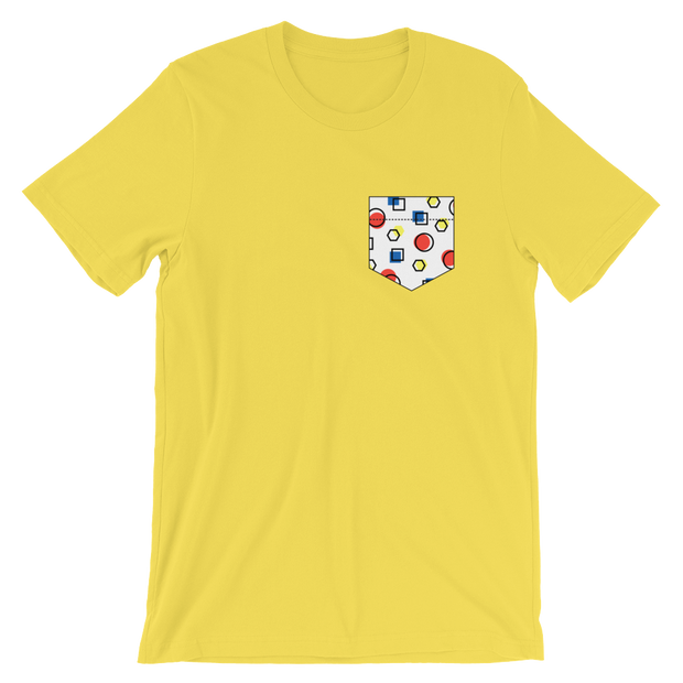 Fake Pocket: Memphis Style Yellow Tee | G.O.A.T. GRAPHICS
