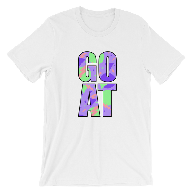 G.O.A.T. Purple/Green White Tee | G.O.A.T. GRAPHICS