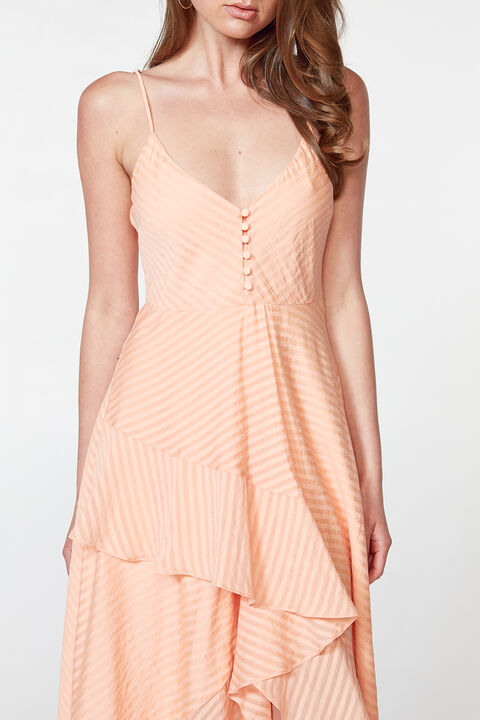Vestido color naranja salmon midi - ICONYWEAR
