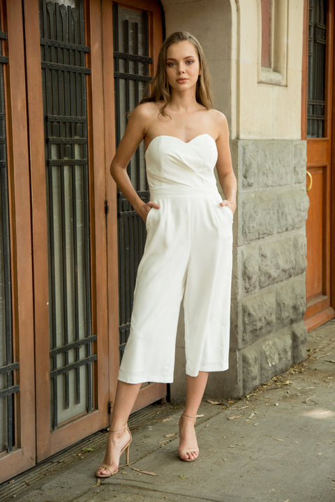 6a80b833c8a9 White strapless jumpsuit. ICONYWEAR