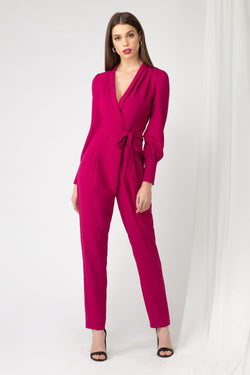Jumpsuit de manga larga en color rosa fuerte - ICONYWEAR