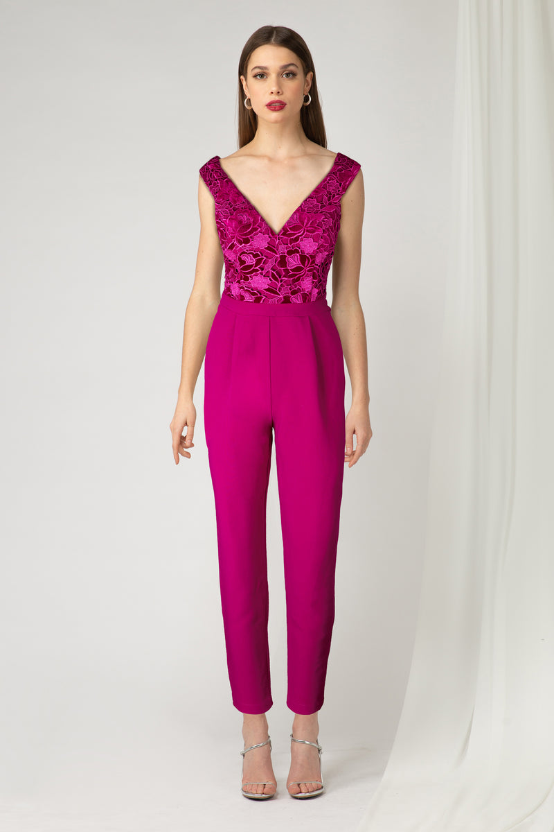 Jumpsuit con bordado color rosa fuerte - ICONYWEAR