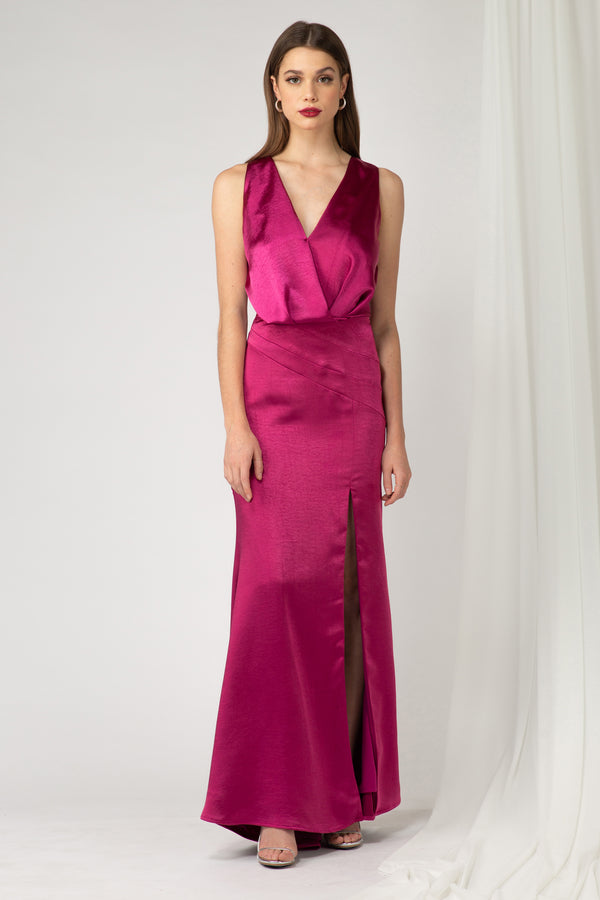 Vestido largo color Fuchsia - ICONYWEAR