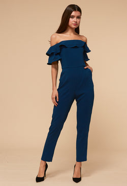 Jumpsuit azul marino off shoulders con olanes - ICONYWEAR
