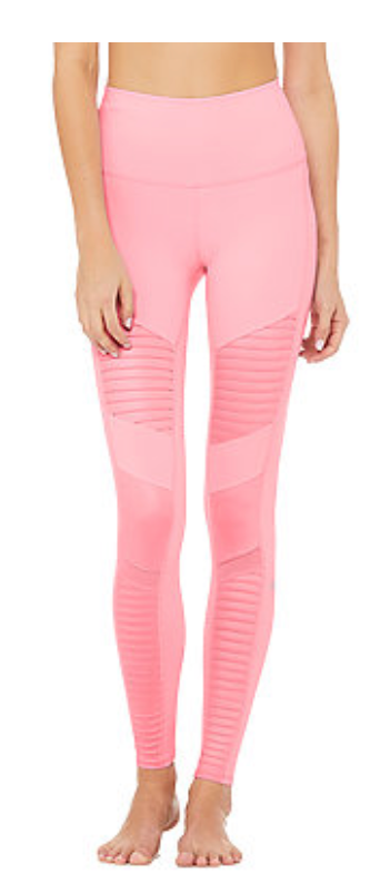 ALO Flamingo/Flamingo Glossy High-Waist Moto Legging - ICONYWEAR