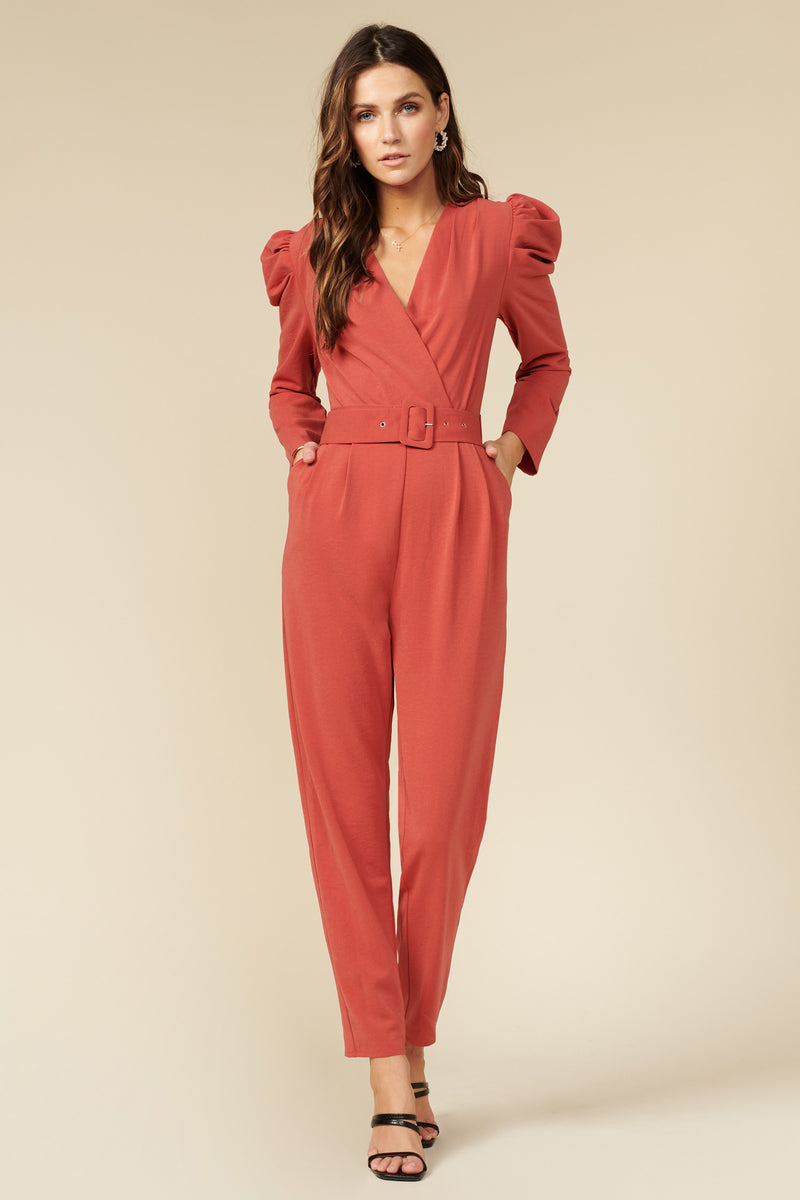 Jumpsuit de manga larga color salmon - ICONYWEAR
