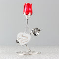Personalised Swirls & Hearts Red Rose Bud Ornament - Treat Haven