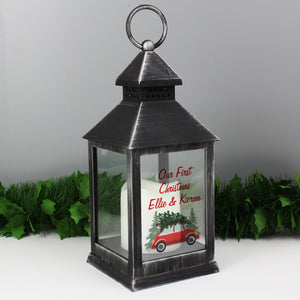 Personalised Black Christmas Lantern - 'Driving Home For Christmas' - Treat Haven