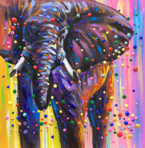 Colorful 3D Dots Elephant Painting - Treat Haven
