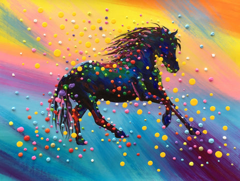 Colorful 3D Dots Horse Painting - Treat Haven