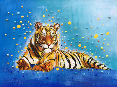Colorful 3D Dots Tiger Painting - Treat Haven
