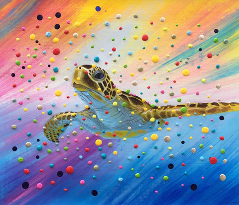 Colourful 3D Dots Turtle Painting - Treat Haven