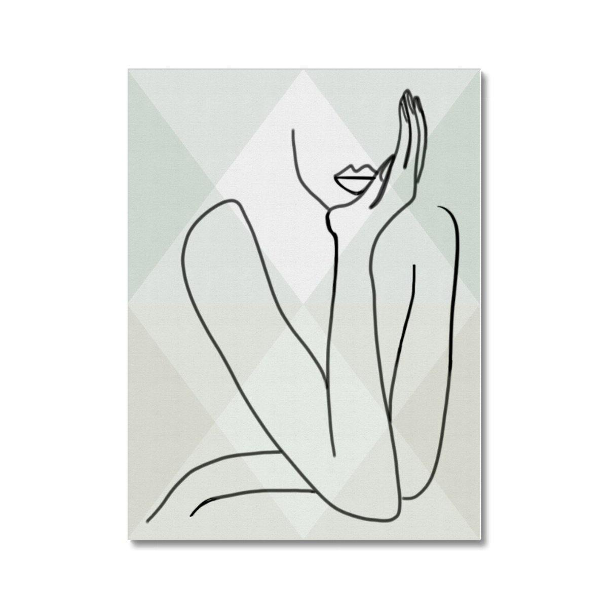 Abstract Line Art - Posing Woman - Canvas Wall Art (3 Frame Colours Available) - Treat Haven