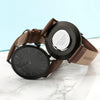 Men's Modern-Vintage Personalised Watch With Black Face in Brown - Treat Haven