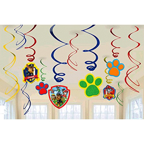 Paw Patrol Super Bundle Birthday Party Pack Including Hanging Swirls, Scene Setter Wall Decorations, Table Decorations, Latex Balloons, Birthday Candle Set (Bonus Party Straw Bundle Pack)