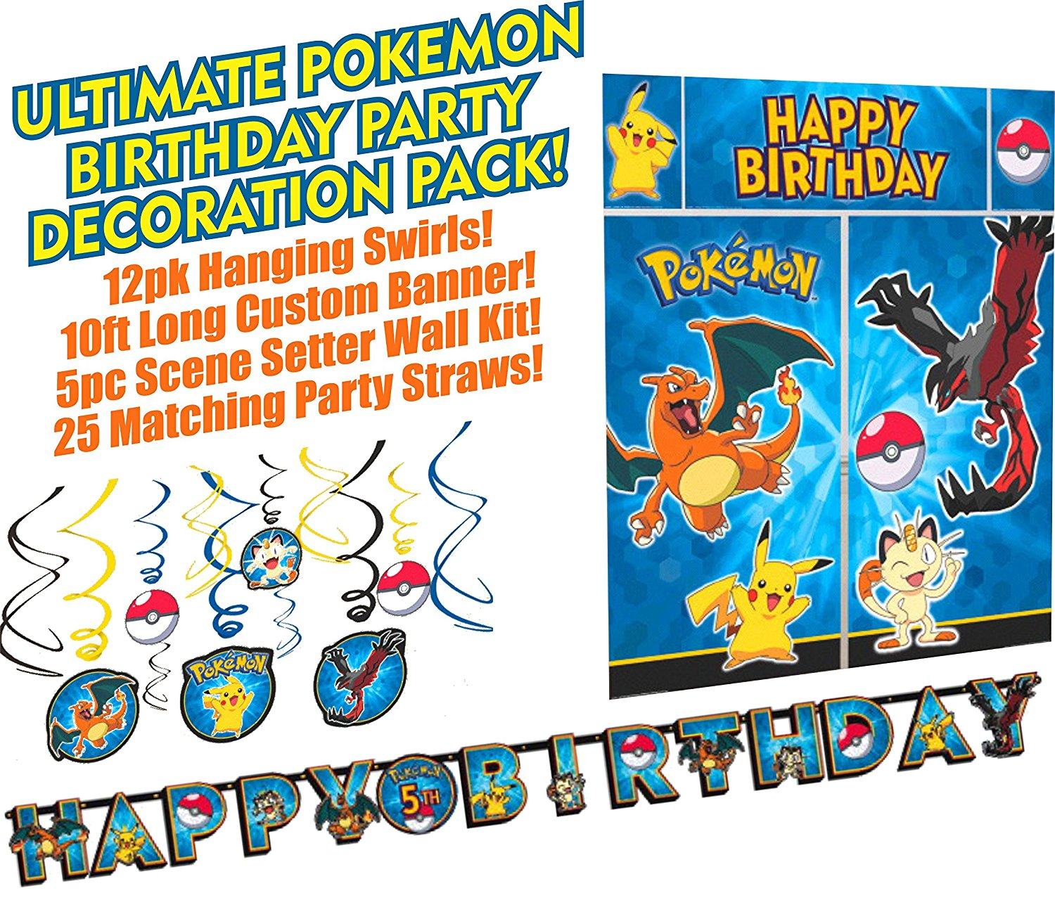 Ultimate Pokemon Birthday Party Decoration Bundle Pack Kit Includes Pikachu & Friends Wall Scene Setter, Custom Birthday Banner, 12 pack Hanging Swirl Kit (Bonus Party Straw Pack Included!!)