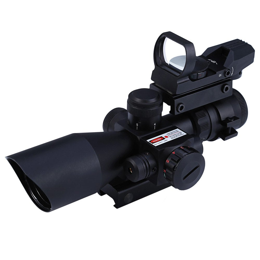 Outlife Hunting 2.5 - 10X40 Tactical Optics Riflescope Red / Green Laser Dual Illuminated Scope Mil-dot 20mm Rail Mount