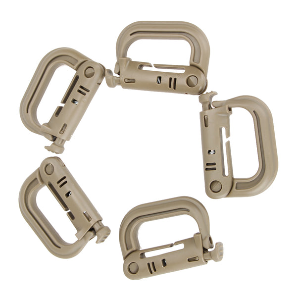 5PCS/SET Tactical Backpack EDC Shackle Snap D Locking Ring Mount D-Ring Clip KeyRing New Carabiner Hook Buckle Climbing Outdoor