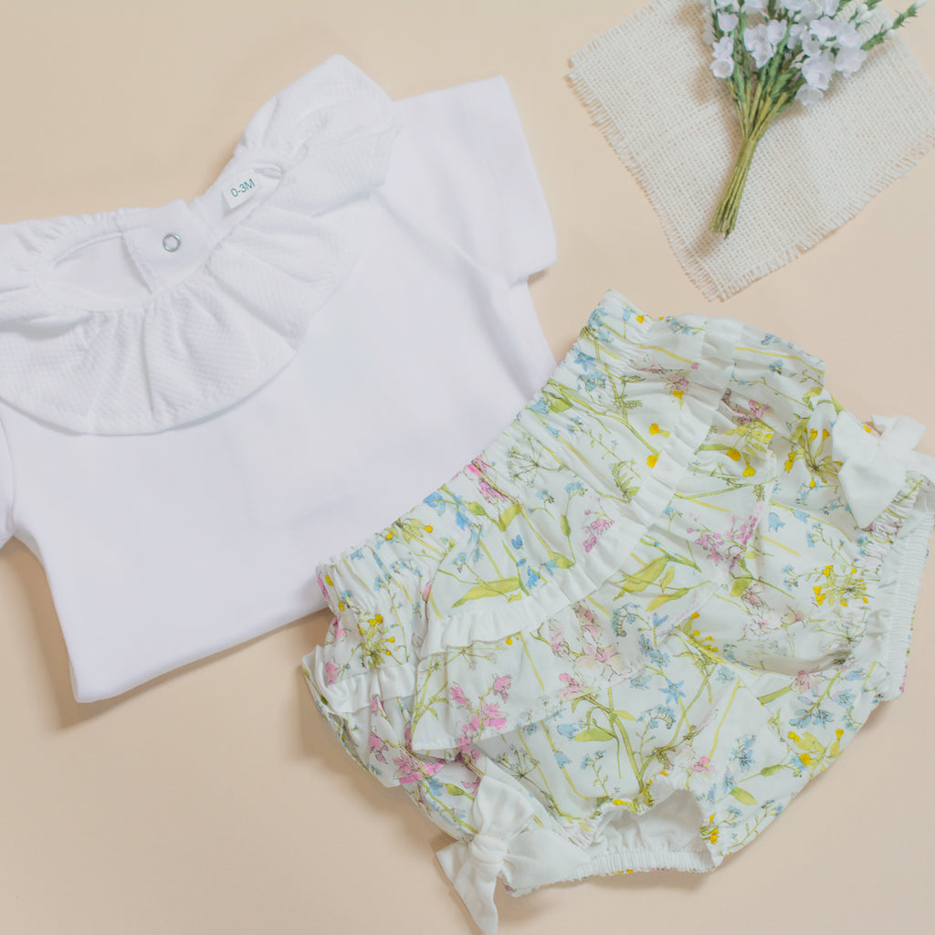 Rosie & Lula Dot Portugal Frill Collar Top and Patachou Liberty Bloomers