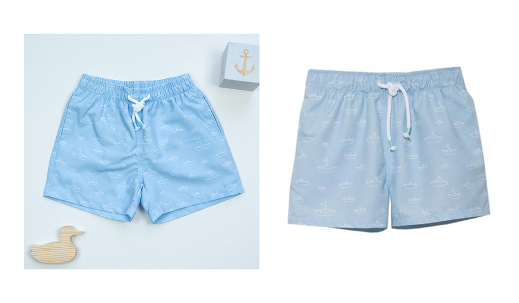 Rosie and Lula Patachou Boat Print Blue Boys Swimshorts