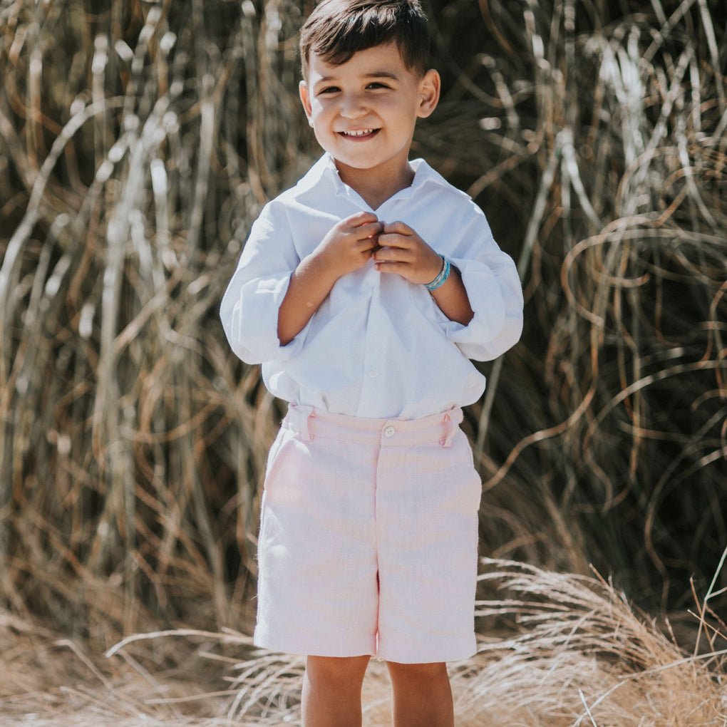 Benedita Tahoe White Shirt and Pink Linen Short Outfit Set