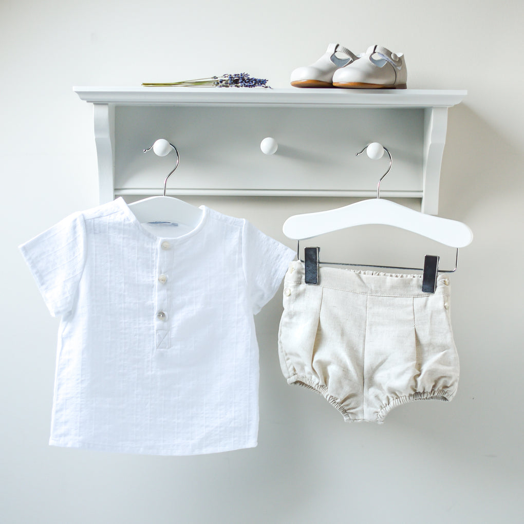 Babidu White Short Sleeved Shirt and Beige Bloomers Outfit Set