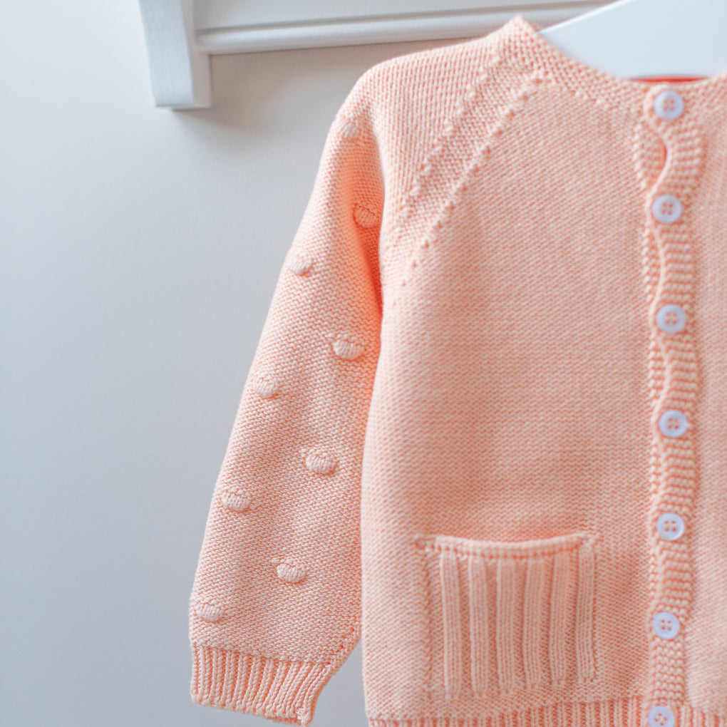 Wedoble Peach Cotton Knit Dot Cardigan