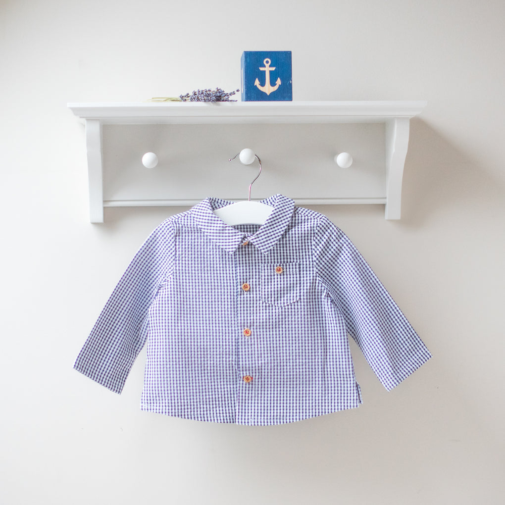 Fina Ejerique Navy Gingham Shirt and Shorts Outfit Set
