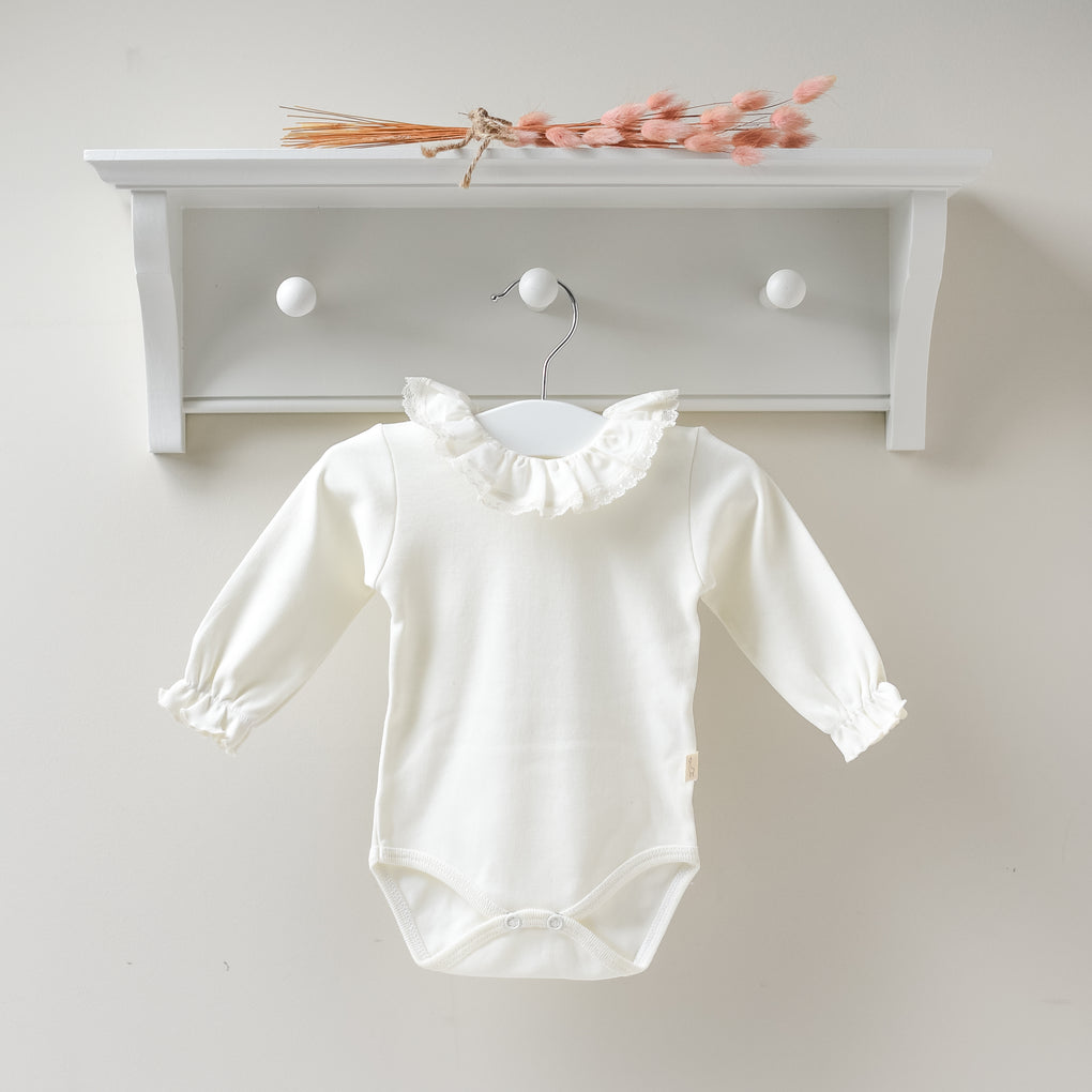 Baby Gi Cream Long Sleeved Bodysuit with Lace Frill Collar
