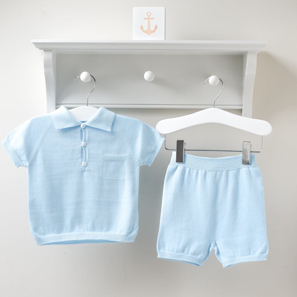 Wedoble Baby Blue Cotton Knit Polo Top and Shorts Outfit Set