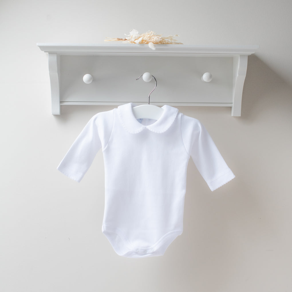 Babidu Long Sleeve White Peter Pan Collar Bodysuit