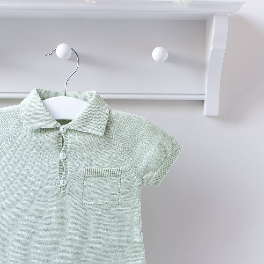 Wedoble Dusty Green Cotton Knit Polo Romper