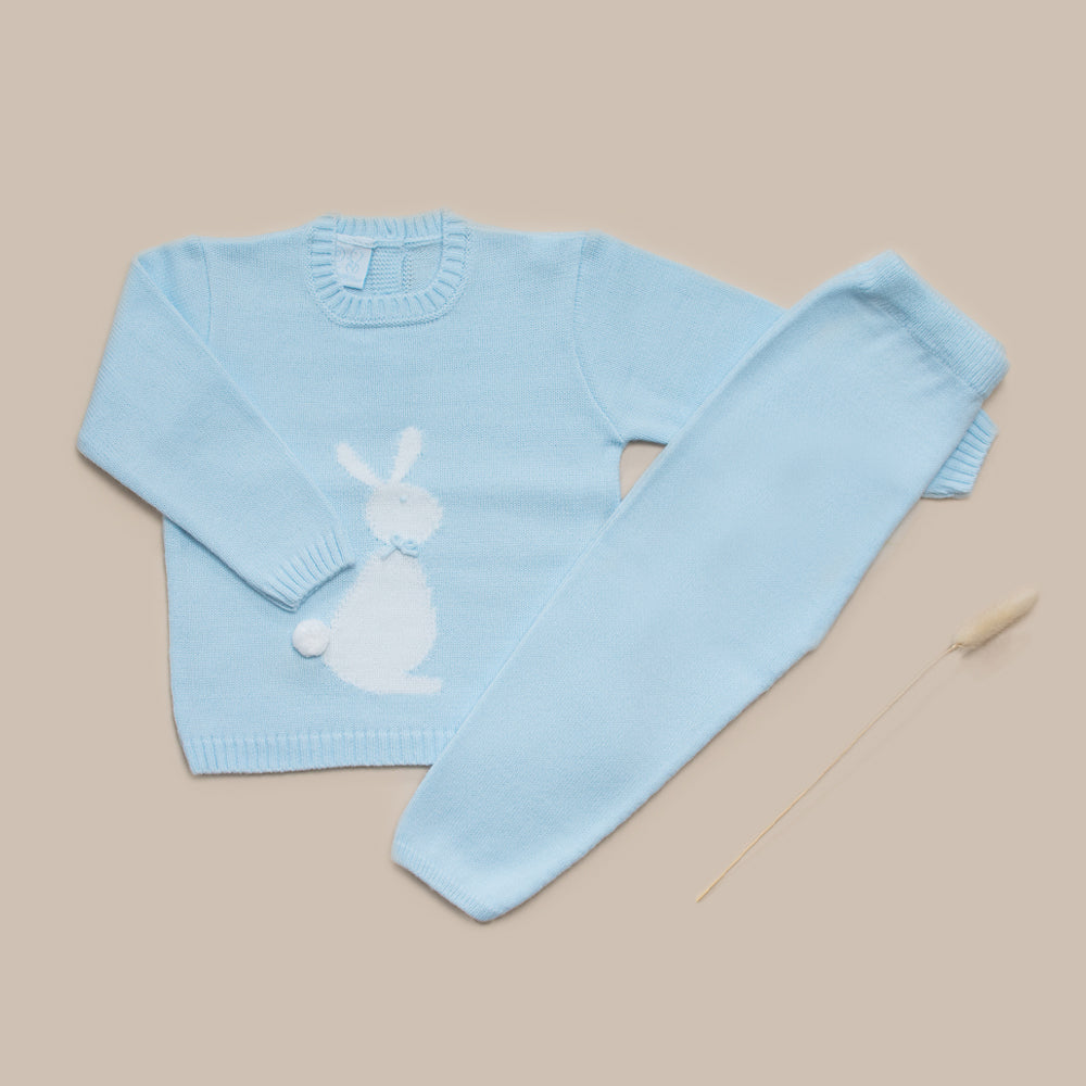 Granlei Pale Blue Knitted Bunny Outfit Set