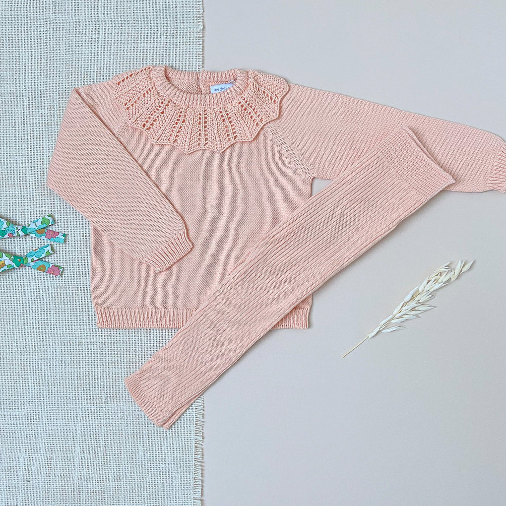 Wedoble Peach Cotton Knit Jumper with Frill Collar and Leggings Outfit Set