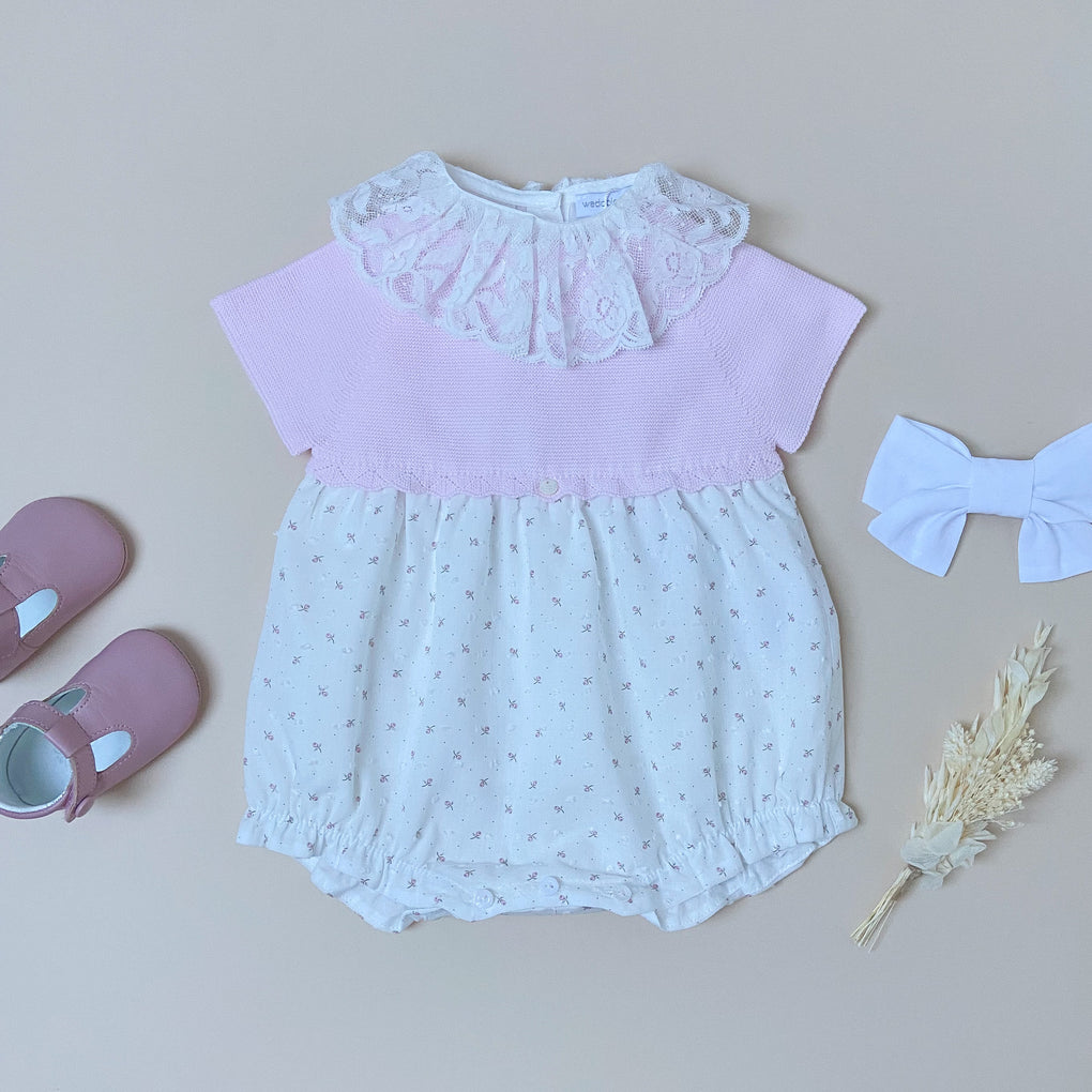 Wedoble Pink and White Floral Romper