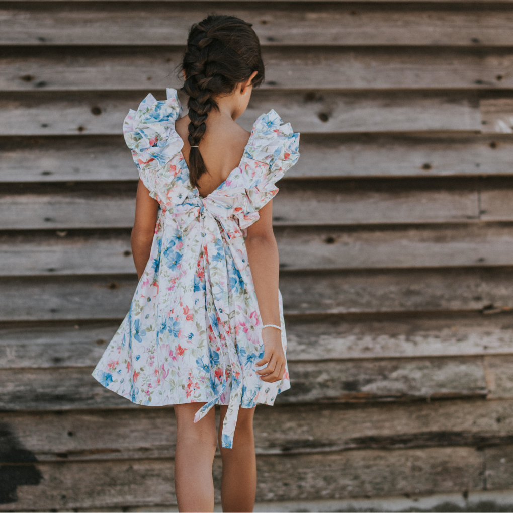 Benedita Sunset Floral Print Frill Dress