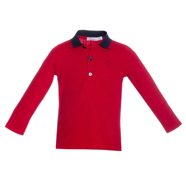 Patachou Boys Red Long Sleeve Polo Top