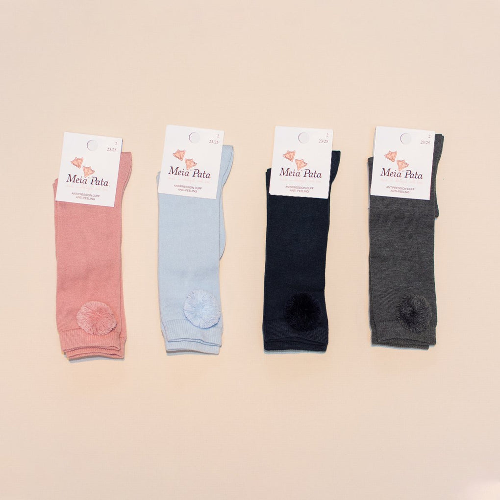 Meia Pata Grey Rib Knit Socks with Pom Pom Detail