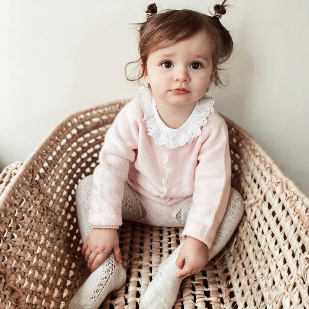 Wedoble Pink Cotton Knit Cardigan and Bloomers Outfit Set