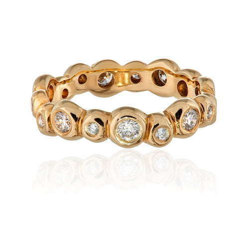 9ct Yellow Gold and Diamond Pebble Eternity Ring