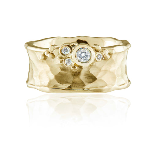 Yellow Gold and Diamond Edge Chunky Ring
