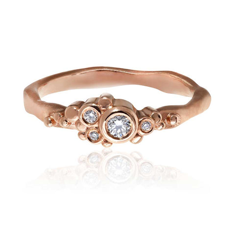 Flint Cluster Ring 9ct Rose Gold