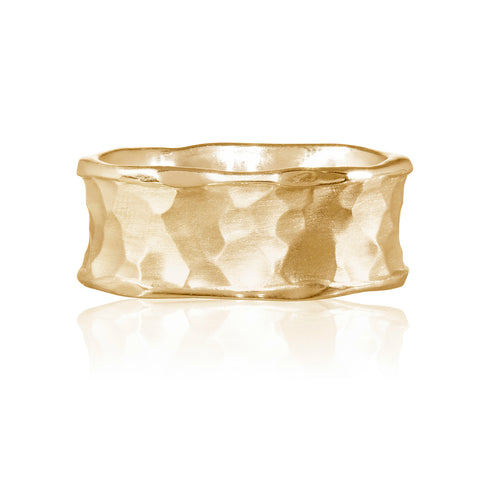 Flint Plain Wide Ring 9ct Yellow Gold