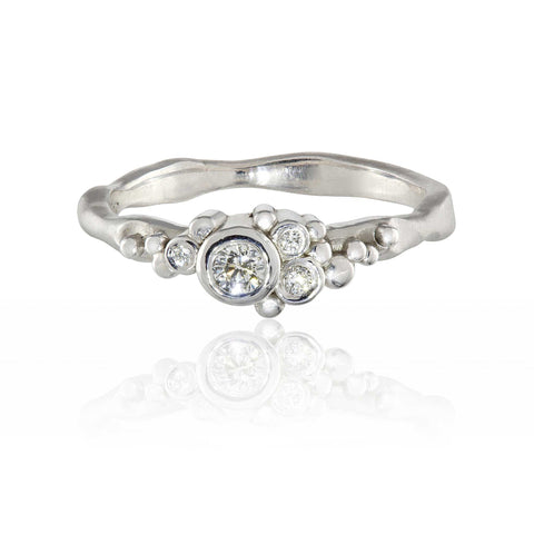 Flint Cluster Ring 9ct White Gold