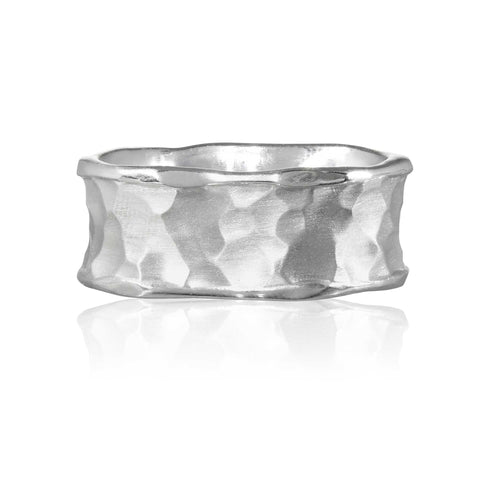 Flint Plain Wide Ring 9ct White Gold