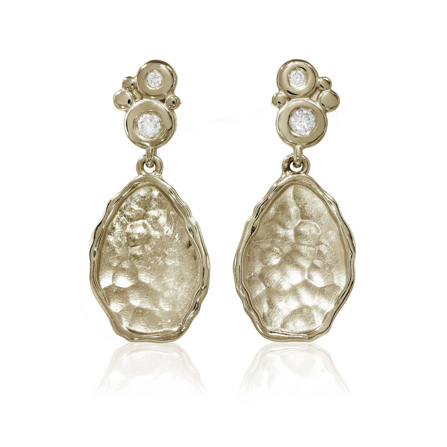 Yellow Gold Flint Disc Drop Earrings